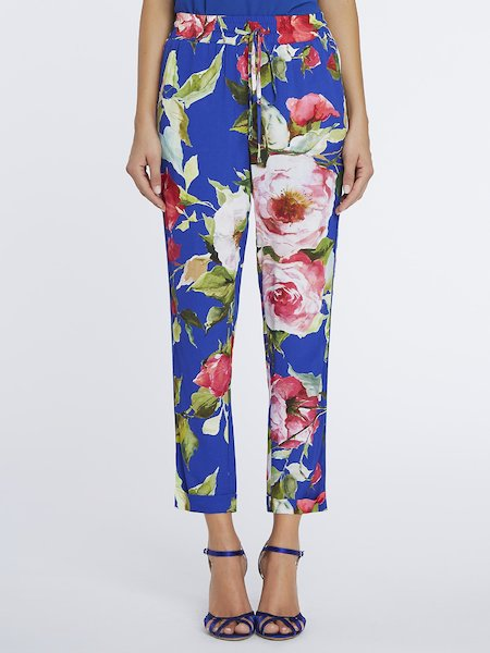 Cropped trousers with rose print - blue
