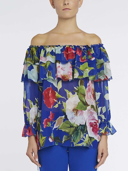 Rose-print blouse with flounce - blue