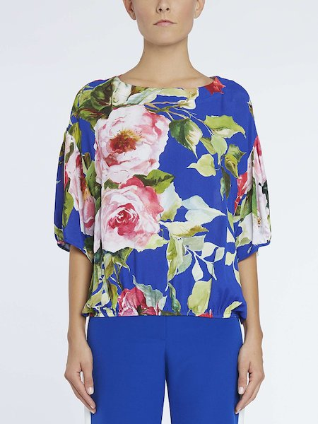 Sack blouse with rose print