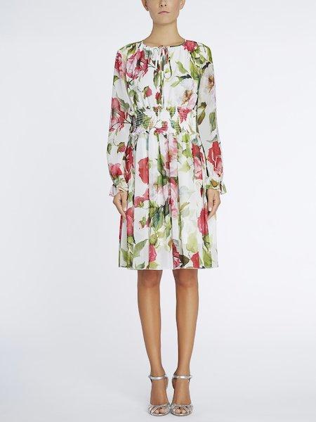 Vestido con estampado de rosas - Blanco