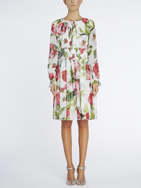 Rose-print dress - white
