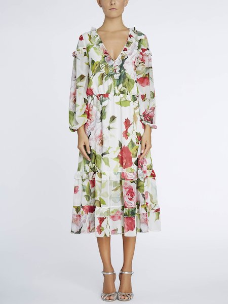 Dress with rose print, featuring flounces and ruffles