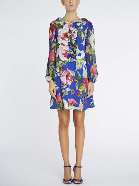 Rose-print dress with flounces