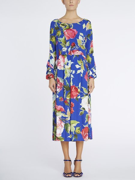 Midi-dress with rose print and flounces