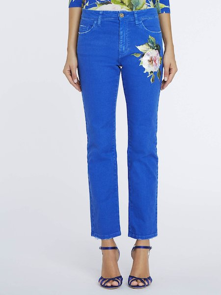 Trousers with printed rose - blue