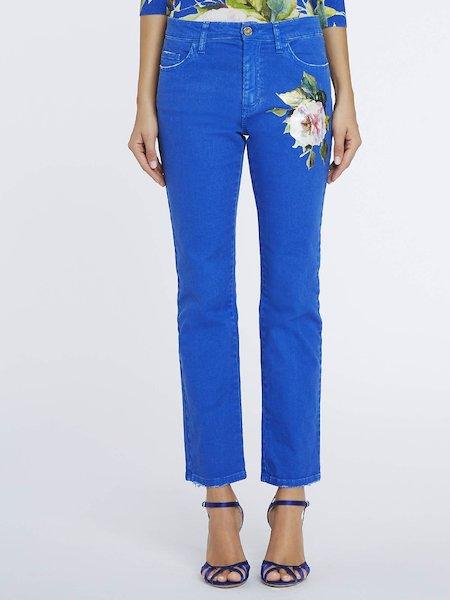 Pantaloni Con Rosa Stampata