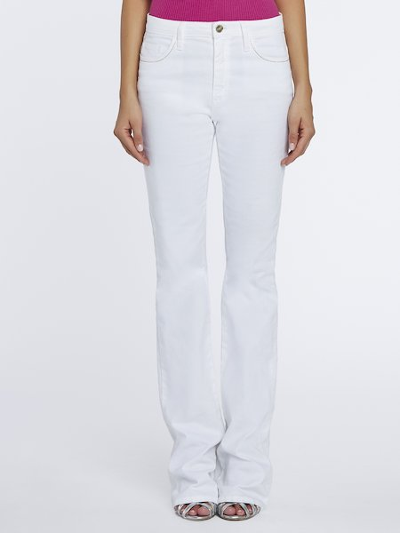 Cigarette-leg cotton trousers - white