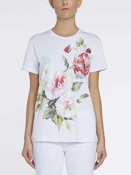 T-shirt with rose print - white