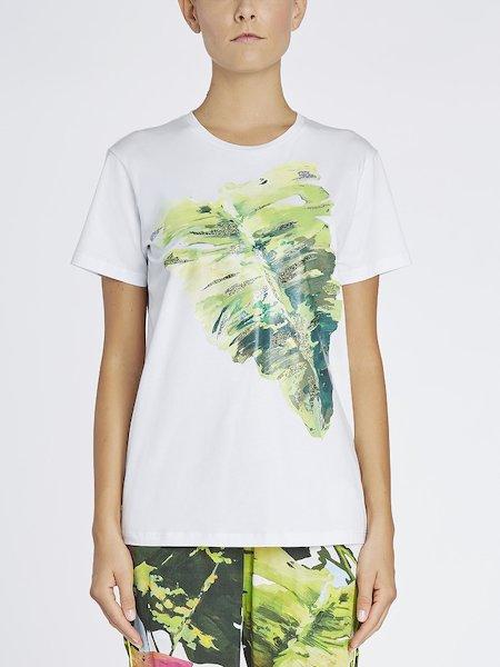 T-shirt Stampata Con Dettagli Lurex - Bianco