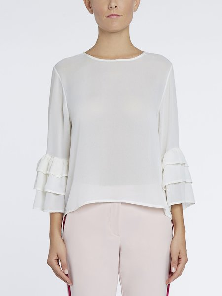 Blouse with flounces - white