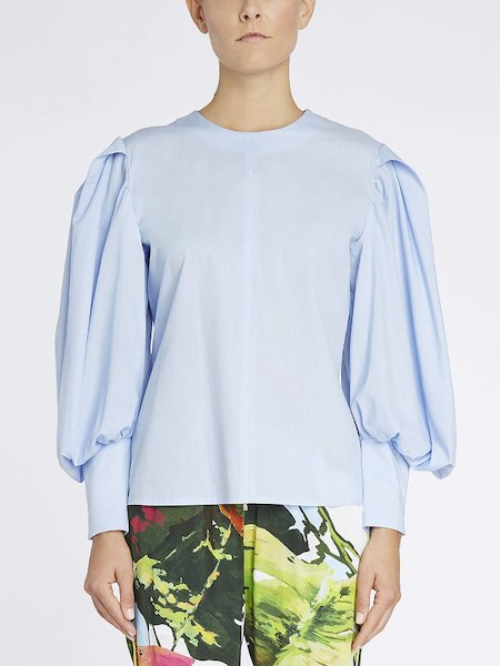 Blouse with balloon sleeves - blue