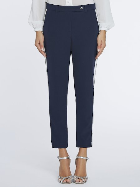 Cigarette-leg trousers with lateral bands - blue