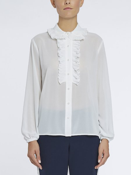 Shirt with mother-of-pearl type buttons - white