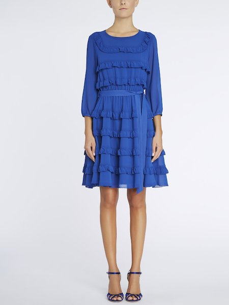 Dress with flounces and belt - blue