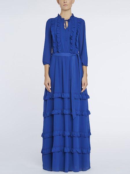 Long dress with flounces and belt - blue