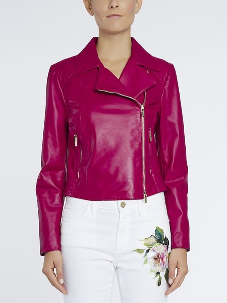 Biker jacket in leather - fuchsia
