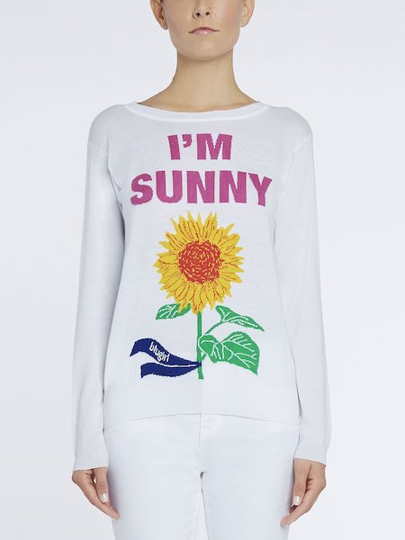 Sweater featuring I'm Sunny intarsia writing