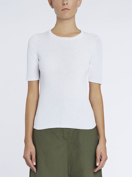 Ribbed knit sweater - white