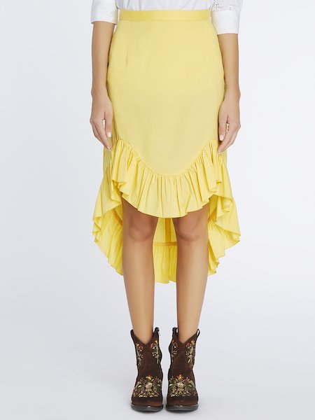 Asymmetrical skirt with flounce - yellow