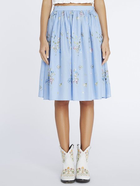Muslin skirt with embroidery
