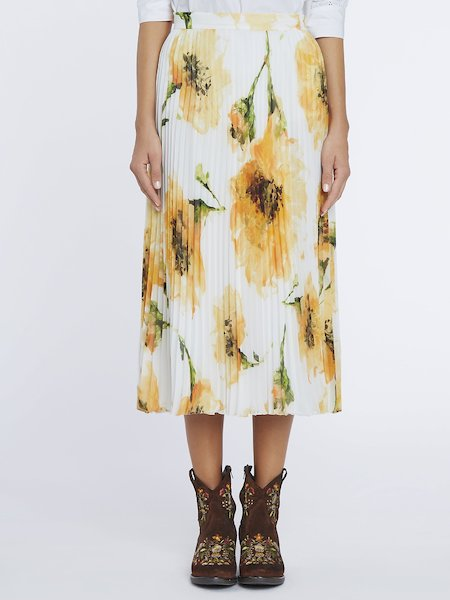 Pleated midi-skirt with anemone print - yellow
