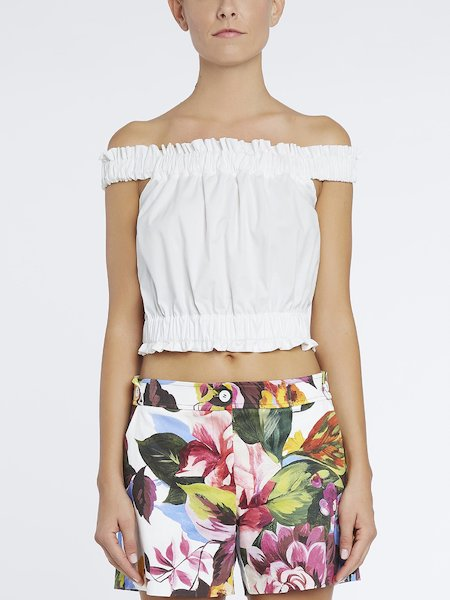 Crop-top in cotton bare shoulders