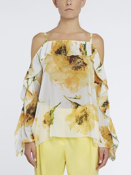 Bare-shouldered blouse featuring anemone print with pleating