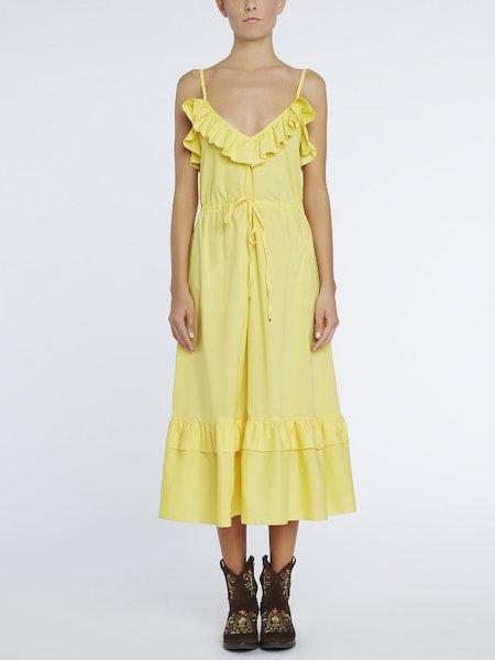 Midi-dress with flounces - yellow