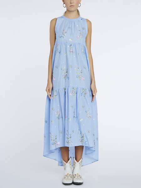 Long dress in muslin with embroidery - Light Blue