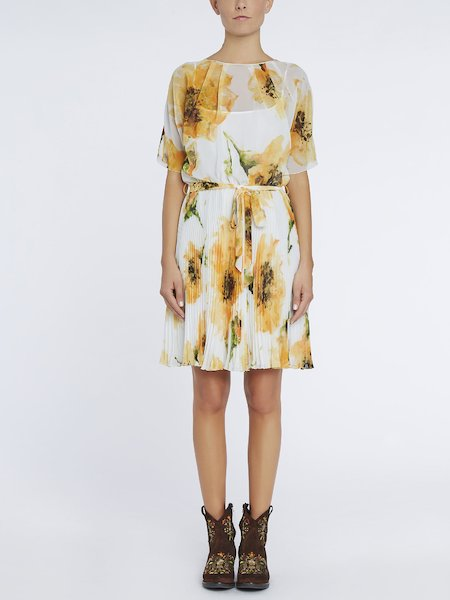 Anemone-print pleated dress