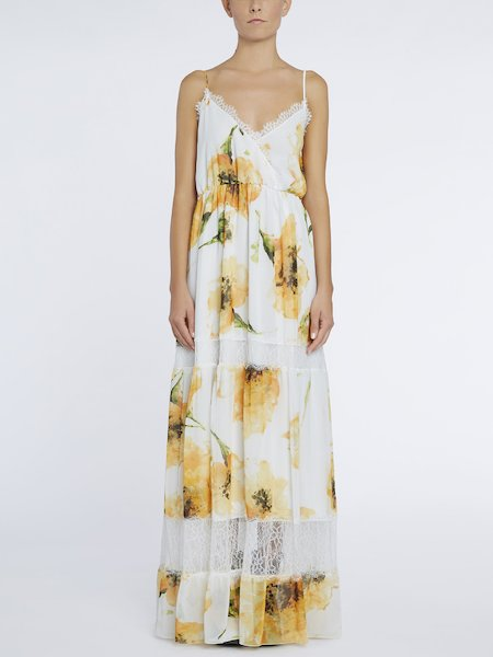 Long anemone-print dress with lace - yellow