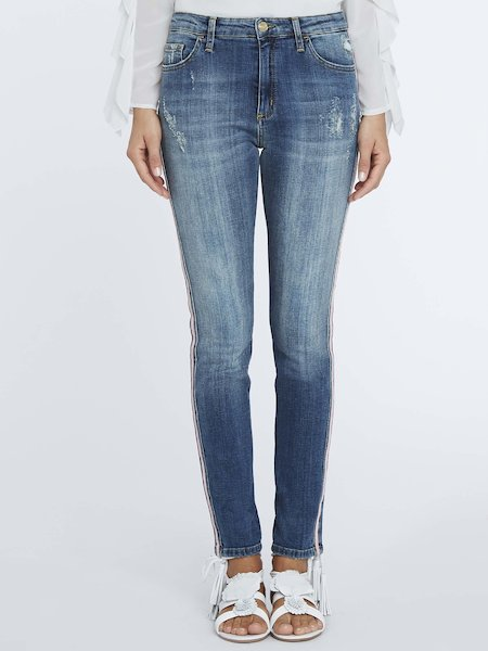 Distressed jeans with lateral bands - blue
