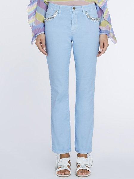 Jeans Con Ricamo di Pietre e Strass