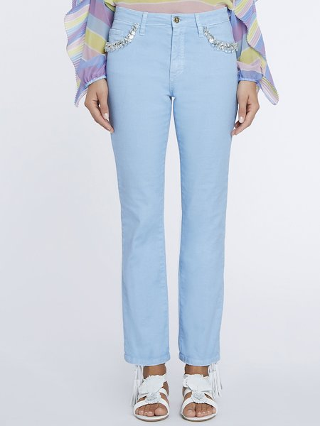 Jeans with decorative stones and rhinestones - Light Blue