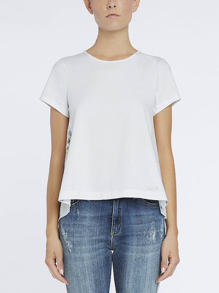 T-shirt with muslin inset - white