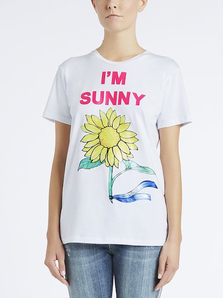 T-shirt in Cotone Stampa I'm Sunny