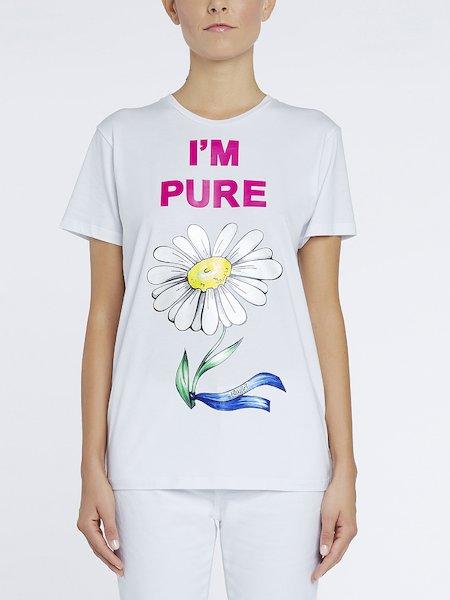 T-Shirt aus Baumwolle mit Print I'm Pure - Weiss