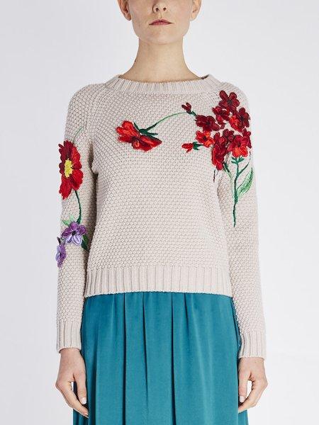 Wollpullover mit Blumenstick