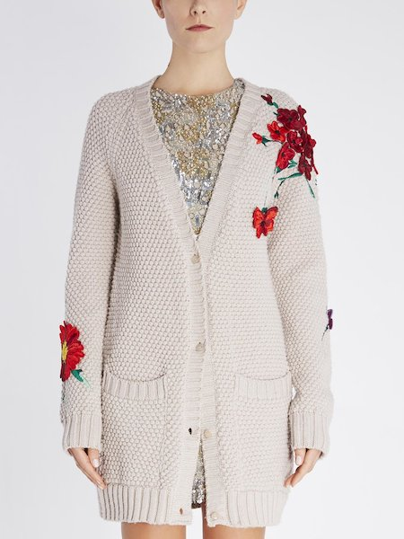 Oversize cardigan in wool with floral embroidery - beige