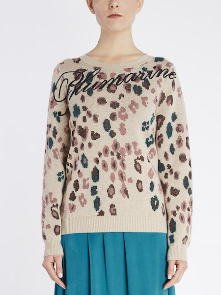 Sweater in animalier-pattern jacquard with logo