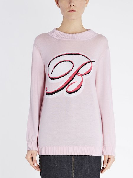 Wool sweater with rubberized maxi B-logo - pink