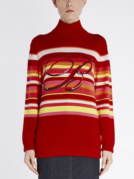 Wool sweater with stripes and maxi B-logo - red