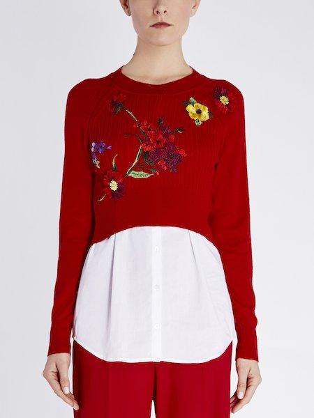 Sweater in wool and poplin with floral embroidery - red