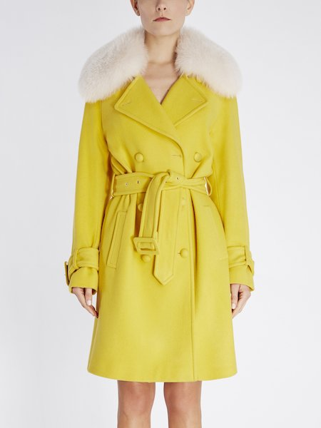 Double-breasted overcoat with fox collar - yellow