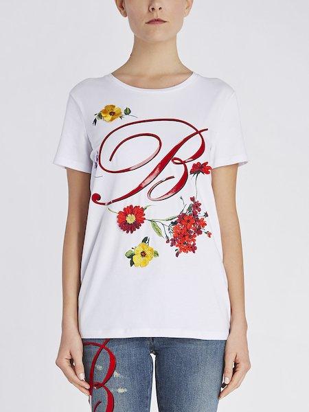 T-shirt Con Fiori e Monogramma