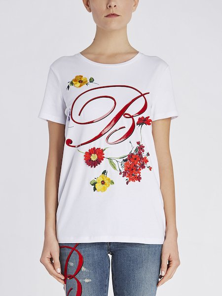 T-shirt with flowers and monogram - white