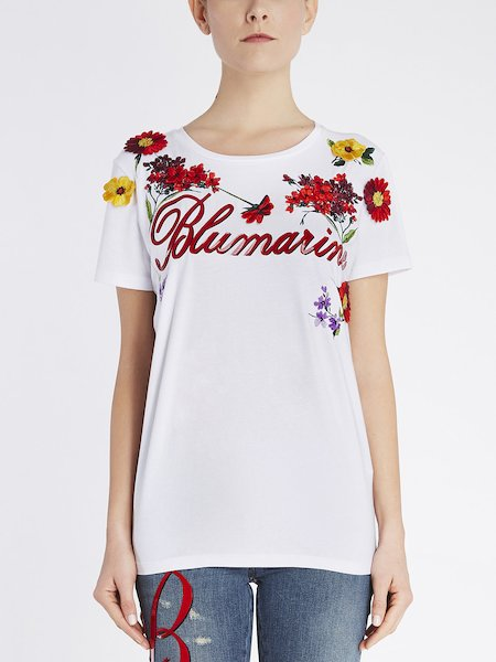 T-shirt with embroidery and logo - white