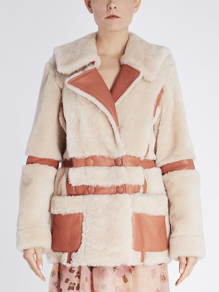 Shearling car coat with leather insets