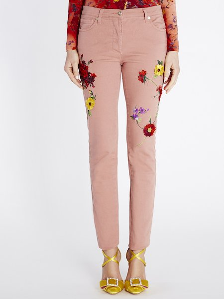 Skinny jeans with 3D floral embroidery - pink