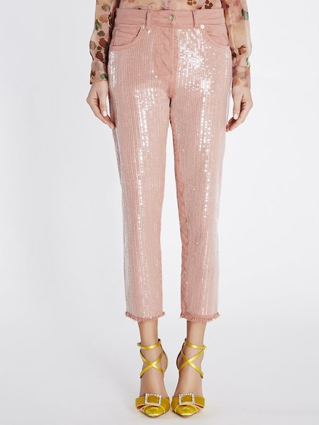 Cropped jeans with sequined embroidery - pink